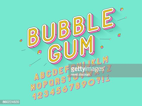 Vector retro Bubble gum bold font design, alphabet, typeface, typography : Vector Art