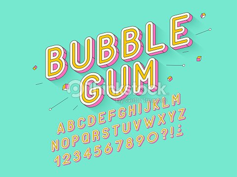 Vector retro Bubble gum bold font design, alphabet, typeface, typography : stock vector