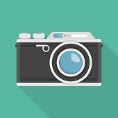 Retro camera or vintage camera in a flat design. Vector illustration of Old style photo camera isolated on green background. Flat photo camera shutter creative optical classic cam.