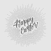 Vector retro Paper card / poster with gray lettering Happy Easter - light version
