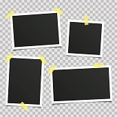 Collection of vector blank photo frames with shadow effects and sticky tape scotch isolated on PS background. Set different sizes of photos, frame for your picture. Vector illustration realistic style