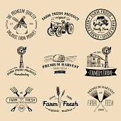 Vector retro set of farm fresh emblems. Organic bio products badges collection. Eco food signs. Vintage hand sketched agricultural equipment icons.