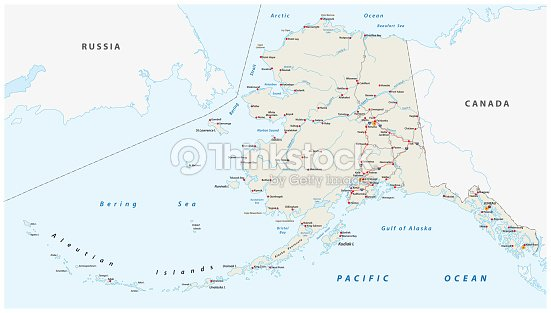Vector Road Map Of The North American State Of Alaska United States ...