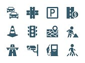 Vector road traffic related icon set