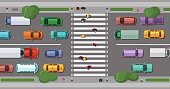 Vector road with cars in front of pedestrian zone with walking people. Crosswalk and transportation movement illustration