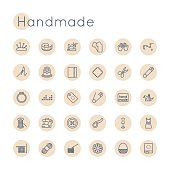 Vector Round line Handmade Icons, including sewing, knitting symbols, scissors, pin, sewing machine, origami, bobbin, crochet, mannequin, dress, patch, button, basket, thread, yarn, isolated on white