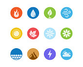 Vector round icon set of fire, water, earth and air elements and seasons of year in flat design style