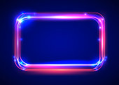 Vector round light frame. Shining square banner. Vector illustration