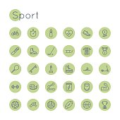 Vector round sport icons, including barbell, dumbbell, bicycle, basketball, volleyball, football and rugby ball, sneakers, skates, sled, skateboard, swimming, tennis and chess symbol, cup, medal and o