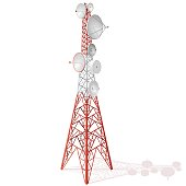 Vector satellite tower in isometric perspective isolated on white background. Transmission Tower telephone and television signals. Red-white communications tower.