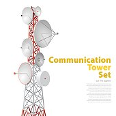 Vector satellite tower in isometric perspective isolated on white background. Red-white communications tower with typography layout. Detail of transmission Tower telephone and television signals.