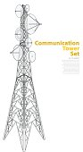 Vector satellite tower in isometric perspective isolated on white background. Communications tower with typography layout. Outlined detail of transmission Tower telephone and television signals.