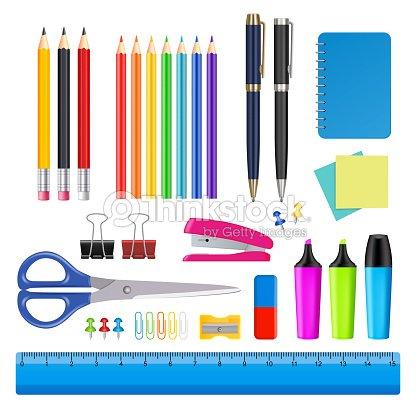 Vector school and office supplies icon set : stock vector
