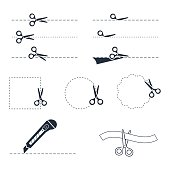 Vector scissors icon set.Vector symbols. Vector illustration