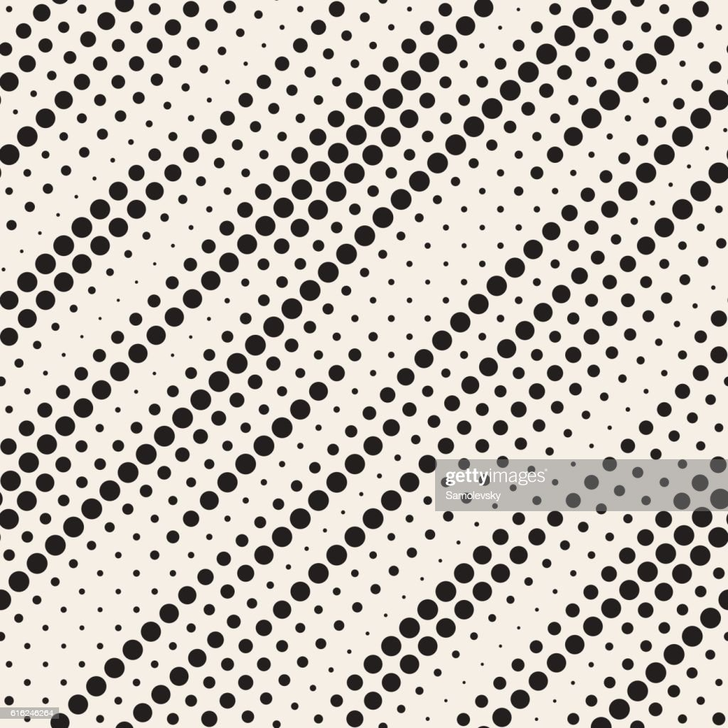 Vector Seamless Black and White Diagonal Halftone Circle Lines Pattern : Vector Art