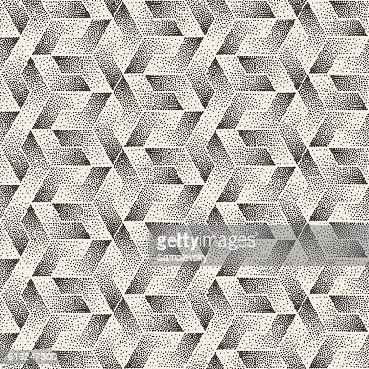Vector Seamless Black and White Stippling Shapes Pattern : Arte vectorial