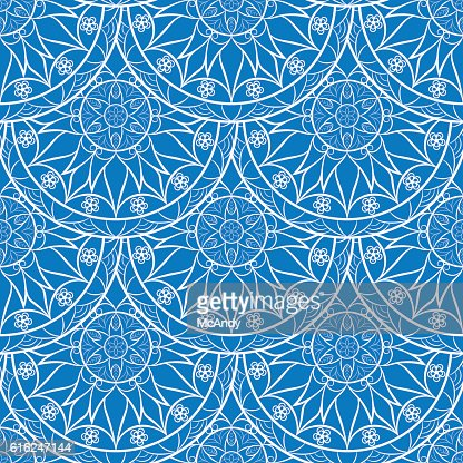 Vector azul Floral patrón de Mandala : Arte vectorial