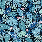 vector seamless blue with pink tropical rainforest allover pattern with flowers, philodendron, split leaf, areca palm leaf