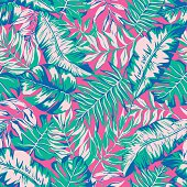vector seamless bright colorful tropical paradise pattern, split leaf, philodendron, rain forest nature, summer time holidays, contrast active tropics background print