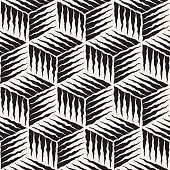 Vector Seamless Black And White Cube Shape Lines Engravement Geometric Pattern . Abstract Background