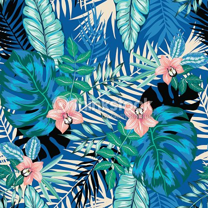 vector seamless dense tropical leaves pattern with orchid flowers
