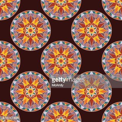 Patrón sin costuras Floral Vector Mandala : Arte vectorial