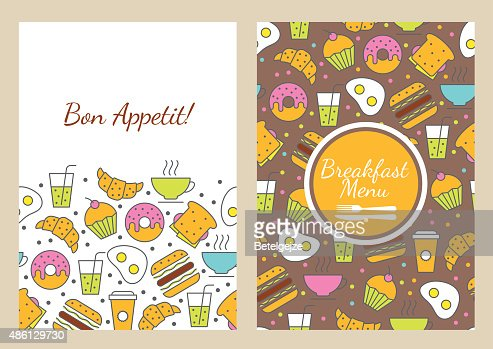 Vector Seamless Food Background Breakfast Menu For Cafe Restaurant