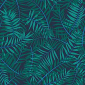 Vector seamless graphical green, emerald, blue tropical foliage pattern, nature of tropics, background allover print with palm leafs