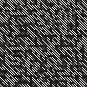 Vector Seamless Black And White Irregular Lines Grid Pattern. Trendy Monochrome Texture. Abstract Geometric Background Design