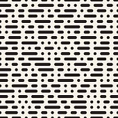 Vector Seamless Black and White Morse Code Dashed Horizontal Lines Pattern Abstract Background