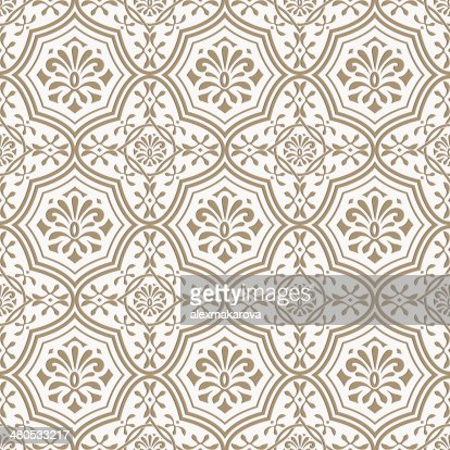 Vector seamless paper cut  floral pattern, indian style : Vector Art