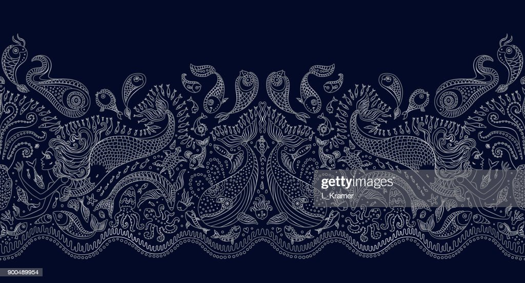 Vector Line Art Animals : Vector seamless pattern fantasy mermaid octopus fish sea animals