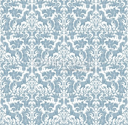 Flowers Leaves Light Turquoise Blue Silhouette With Ornaments On A White Background Embroidery Template Wallpaper Textile Print Wrapping Paper