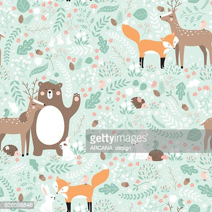 Vector seamless pattern, forest animals illustration. : stock vector