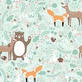 Forest friends, bear, deer, fox, rabbit, bird, hedgehog.