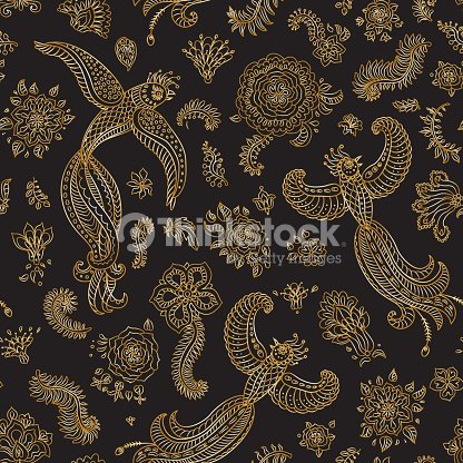 7d6477062388 Exotic flying birds, golden contour thin line fantasy flowers with folk  ornaments on a black background. Embroidery, gold wallpaper, textile print,  ...