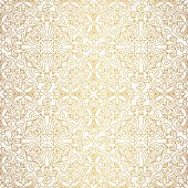 Vector seamless pattern with line art ornament. Vintage element for design in Victorian style. Ornamental lace tracery. Ornate floral decor for wallpaper. Endless texture. Outline pattern fill.