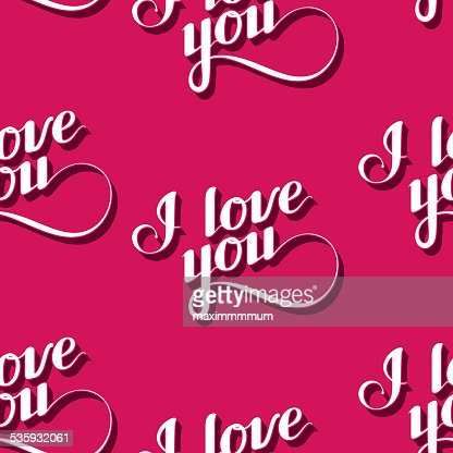 vector seamless pattern of handwritten I love you retro labels. : Vector Art