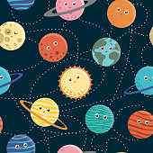 Vector seamless pattern of planets for children. Bright and cute flat illustration of smiling Earth, Sun, Moon, Venus, Mars, Jupiter, Mercury, Saturn, Neptun on dark blue background. Space picture for