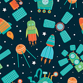 Vector seamless pattern of space technics for children. Bright and cute flat illustration of spaceship,  rocket,  satellite,  space station,  rover on dark blue background