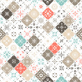 Vector seamless pattern of square mosaic tiles with patterns. Red, blue, brown, beige palette.