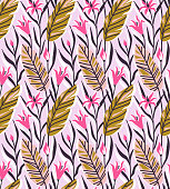 Vector seamless pattern with bright tropical flowers and palm leaf. Hand drawn background.