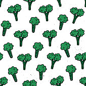 Vector seamless pattern with broccoli. The background for the menu of baby food. Hand drawn style