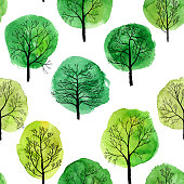 vector seamless pattern with deciduous trees and green watercolor foliage, hand drawn natural background