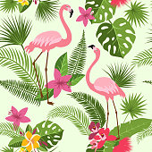 Vector seamless pattern with flamingo, tropical flowers and palm tree. Summer hawaiian background. Tropical summer hawaiian pattern with flamingo and palm illustration