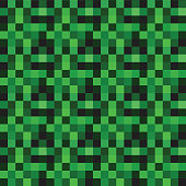 Seamless green pattern with green squares, pixels, geometric texture, grass