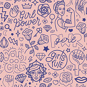 Vector seamless pattern with icon and hand-lettering phrases related to girl power and feminist movement - abstract background for prints, t-shirts, cards