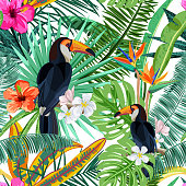 Vector seamless pattern with green tropical palm leaves, hibiscus flowers and bird toucan. Nature background. Summer or spring trendy design elements for fashion textile prints and greeting cards.