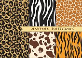 Vector seamless patterns set with animal skin texture. Repeating animal backgrounds for textile design, scrapbooking, wrapping paper. Vector animal prints.