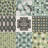Vector seamless simple pattern set. Modern stylish texture. Repeating abstract background.